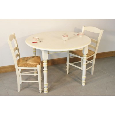 ensemble table cuisine bois avec rechampi 4 chaises choclat paillees