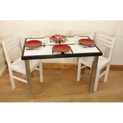 ensemble table cuisine carrelee ceramique 4 chaises laquees blanche