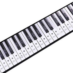 1Buy Nouveau Clavier de Musique Transparent Piano Stickers 88/61/54/49 Nice Key Amovible Laminted Black
