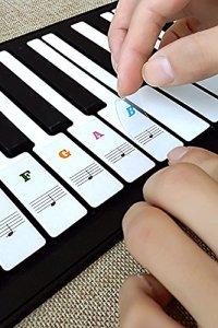 Autocollants pour piano, apprenez les autocollants de piano Autocollants de note de piano démontables transparents noir blanc pour les clés 36/49/54/61/88