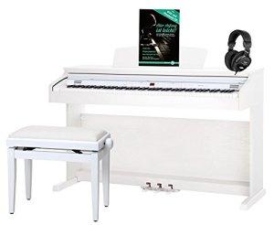 Classic Cantabile DP-50 WM E-Piano blanc mat set avec banc et casque