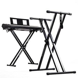 Duronic KS2B Support pour synthétiseur/clavier avec vis et sangles de fixation –Hauteur réglable – Léger – Supporte 30 kg