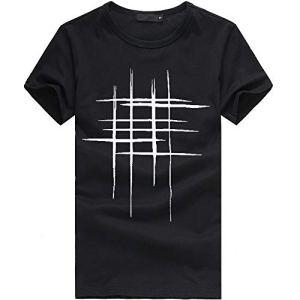 feiXIANG T-Shirt – Printemps Été, Homme Mode Casual Simple Col Rond Lettre Imprimée Tee Shirt Sport Tops à Manches Courte Slim Fit Sport Pullover Chemisiers Blouse (Noir,L)