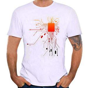 feiXIANG T-Shirt – Printemps Été, M002 Homme Mode Casual Simple BlancCréatif Imprimé Col Rond Tee Shirt Tops à Manches Courte Slim Fit Pullover Chemisiers Blouse (Blanc,L)
