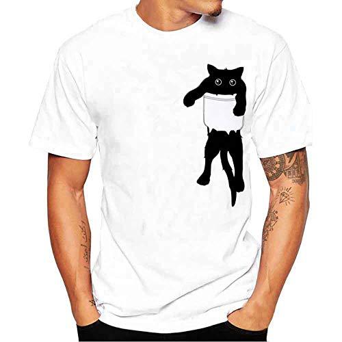 feiXIANG T-Shirt – Printemps Été, M020 Homme Mode Casual Simple BlancCréatif Imprimé Col Rond Tee Shirt Tops à Manches Courte Slim Fit Pullover Chemisiers Blouse (Blanc,M)