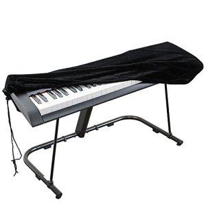 Housse de protection pour Clavier piano 88 touches, Clavier électronique Couverture anti-poussière pour Synthétiseur Piano numérique Yamaha Alesis Casio Roland – Velours extensible Noir