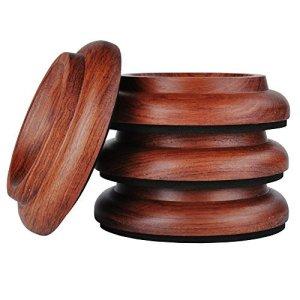 KingPoint, lot de 4 coupelles en bois dur pour roulette de piano droit, tampons de protection pour pieds de meuble Jacoranda