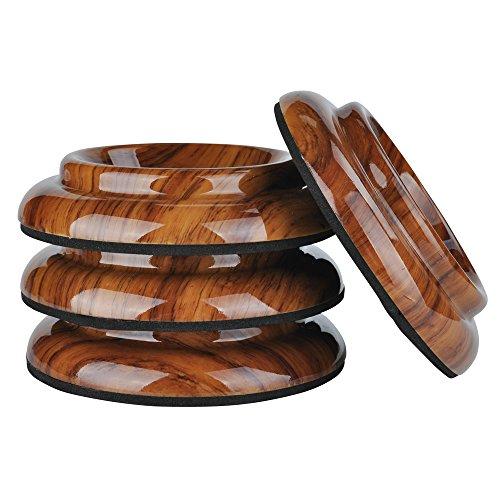 Lot de 4protections antidérapantes pour roulettes de pied de piano vertical – Par KingPoint – En plastique ABS palissandre