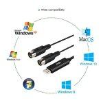 Mugig Câble MIDI à USB Convertisseur Interface connecteur instruments Midi, pour clavier Piano sans besoin de Driver à PC Mac Ordinateur Portable Pour Windows 2000 XP Vista Win 7