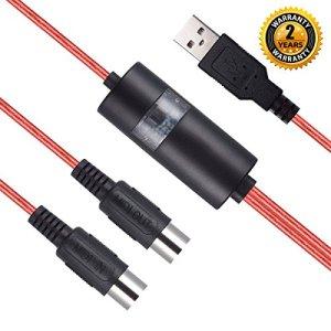 OIBETECH Câble pour interface USB et MIDI – Professionnel – Port USB vers ports MIDI d'entrée et de sortie – Convertisseur – Pour ordinateurs portables Mac et PC – 2m MIDI Cable Red