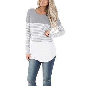 Rovinci_Femme Mama T Shirt Top Blouse Femme Col Rond Vêtements de Maternité Rayure Enceinte Grossesse Printemps Manches Longues Imprimées Vêtements d'allaitement