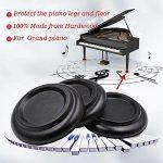 Wankd 4pcs Bois massif Upright Piano Caster Tasses, antidérapant et anti-bruit EVA Tapis antidérapant Pad jambe Coussinets Coussin protection Noir