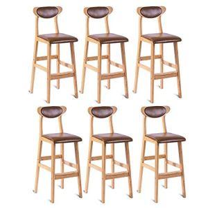 ZHANG Tabourets de Bar Ensemble de Cuir de Cire d'huile Coussin de siège en Bois Massif chaises Cadre Cuisine (40 * 45 * 100cm),L