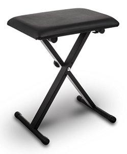 Banc de piano en cuir noir pliant et réglable en hauteur Pro X de Livivo®