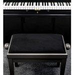 Classic Cantabile Piano Banque (assise réglable en hauteur de 47–56cm, mécanisme de broche, 55x 32cm, blanc Housse en velours, stable) Dark Walnut Mat