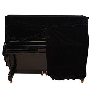 Dilwe Couverture Verticale de Piano, Housse de Piano Droit Housse de protectuion en Velours d'or Accessoire de Piano(Noir)