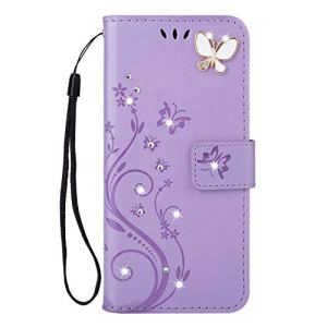 JAWSEU Compatible avec Huawei Honor 7A Coque PU Cuir Bling Diamant,Ultra Mince Leather Portefeuille Etui Mode Gaufrer Papillon Fleur Brillant Sparkle Glitter Strass Flip Wallet Case,Violet Clair