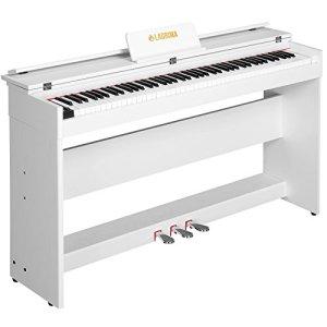 SUNCOO Clavier de piano numérique 88 touches avec 3 pédales, adaptateur et minimalisme USB/MIDI, Blanc