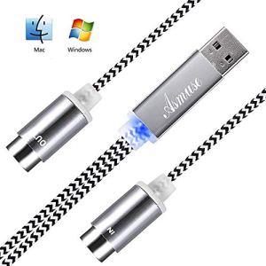 Asmuse Cable MIDI USB Bright LED Convertisseur d'interface pour Instruments de Musique électriques Clavier Piano électrique à PC Mac Portable 5 PIN Connecteur'2 en 1′ d'entrée-sortie Cable (1,9 m)