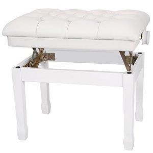 Neewer 18-22 pouces/46-56 centimètres Double Banc de Piano en Bois Hauteur Réglable Matelassé avec Coussin en Cuir PU Épais et Doux pour Confort de Luxe (Blanc)