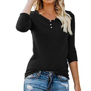 ❤ Femme Mode Casual Boutons Col Rond Couleur Unie Manches Longues Slim Chic Pullover T Shirt Tops Simple Blouse feiXIANG (Noir,L)