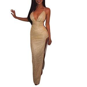 XiangxiKJ Robe de Soirée Longue Paillettes sans Manches Sexy V Profond Haute Fente Couleur Unie Camisole Longue Robe Clubbing Cocktail Soirée pour Femme (Or, S)