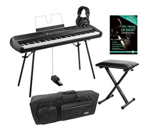 Lot de 280BK portable Piano Korg SP (88Touches, Clavier NH, en Kit avec support, clavier de banque, écouteurs, école sac et Piano) Noir
