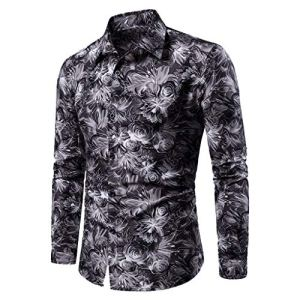 Mode Homme Chemise Fleur Imprimé Casual Long Sleeves Blouse Col De Stand Automne-Hiver Funky Shirt Tops Kabeloring