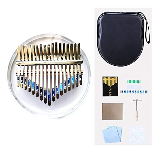 Kalimba 17 Key Thumb Piano Finger Instrument De Musique Professionnel Pocket Crystal Acrylic Marimbas Percussion Keyboard With Carry Case And Tune Hammer, For Beginners And Advanced Player