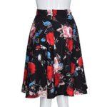 Mini Jupe Vintage pour Femme, Manadlian Robe Casual Jupe Printemps Été Mi-Longue Jupe à Imprimé Floral Jupe Taille Haute