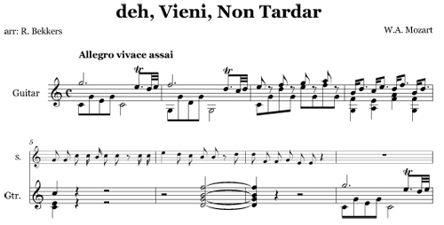 deh, Vieni, Non Tardar by Mozart, arranged by Robert Bekkers for guitar and voice