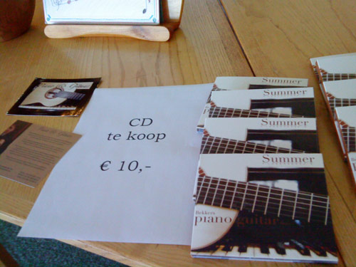 Selling CDs at a concert in Zeist