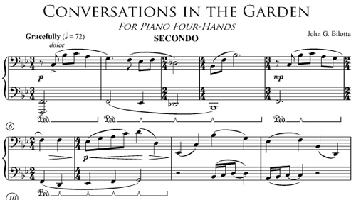Conversations in the Garden piano duet by John Bilotta - secundo