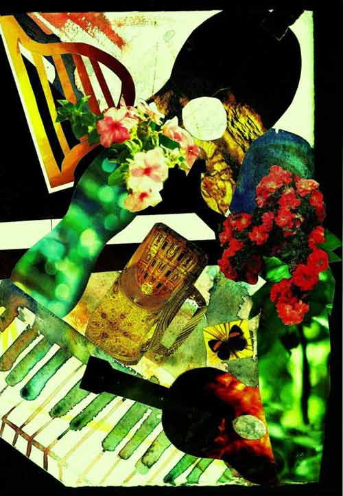 Watercolour collage of Glass Vase Concert by Frances Ku for auction
