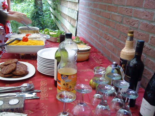 Dinner table for Brazilian barbecue buffet