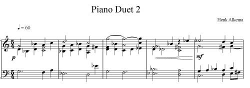 Solo transcribed from 2nd piano duet of Henk Alkema