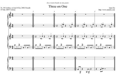 Three on One piano duet by Anne Ku
