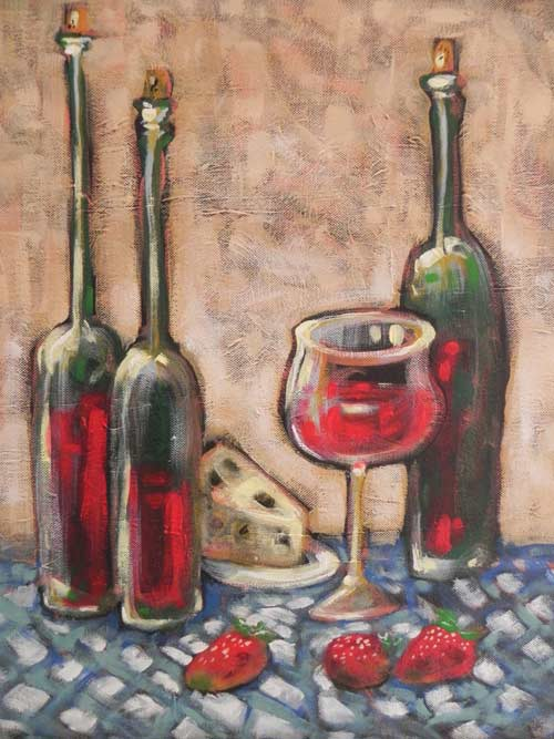 Wines painted for Columbus Symphony Orchestra fundraiser, 16x20 acrylic on canvas, Rob Judkins (2011)