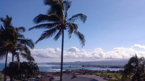 The view from our balcony in Maui: surf's up on Christmas Day!