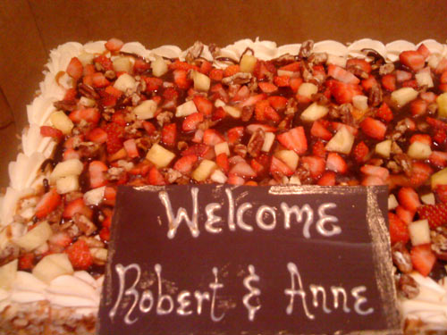 Welcome cake for Robert and Anne in Houston