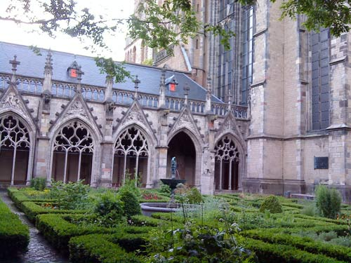 Gardens of the famous Dome Church in Utrecht, The Netherlands