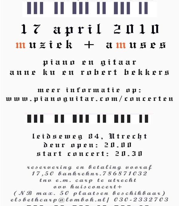 Concert invitation for 17 April 2010 Utrecht