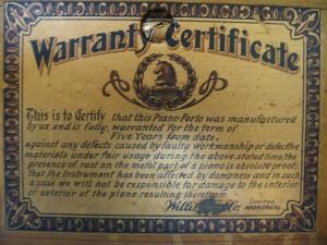Warranty Statement on piano plate