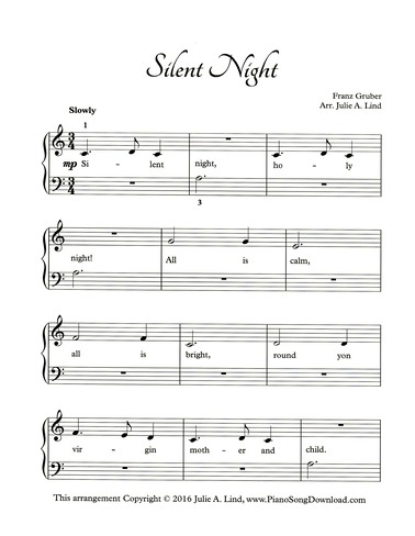 Best Silent Night Piano Sheet Music For Beginners With Letters Image