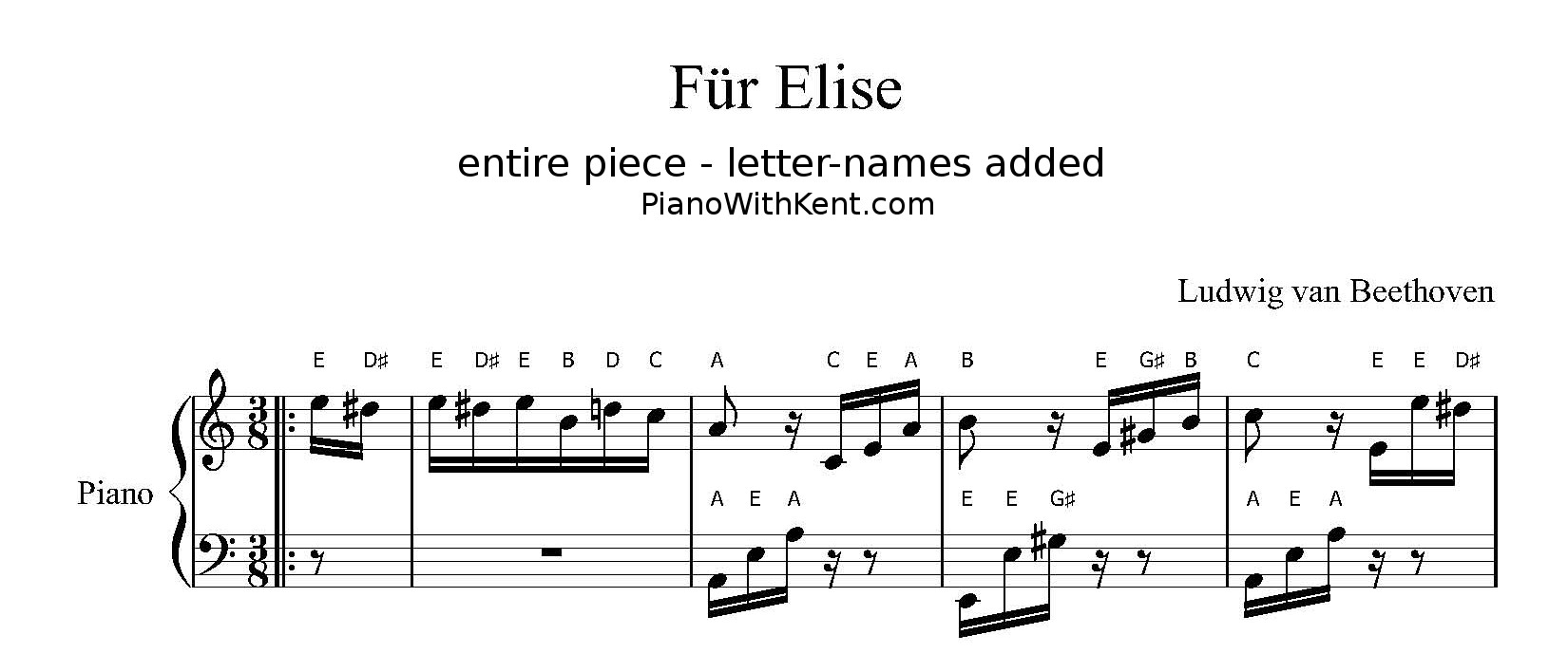 Fur Elise letter-notes sheet music from pianowithkent.com