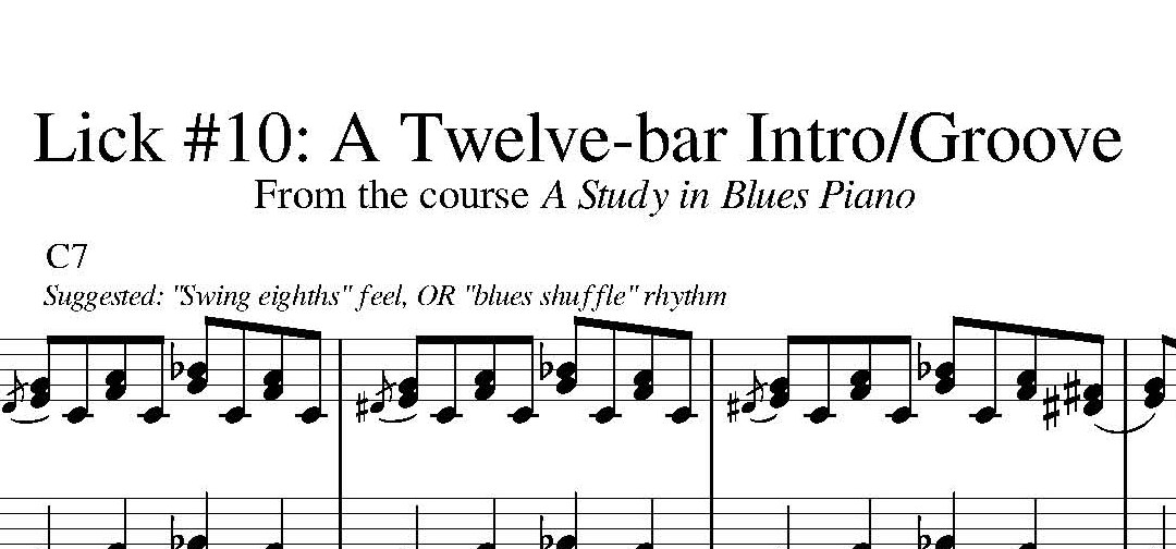 """Sheet Music: Lick #10 from """"A Study in Blues Piano"""""""