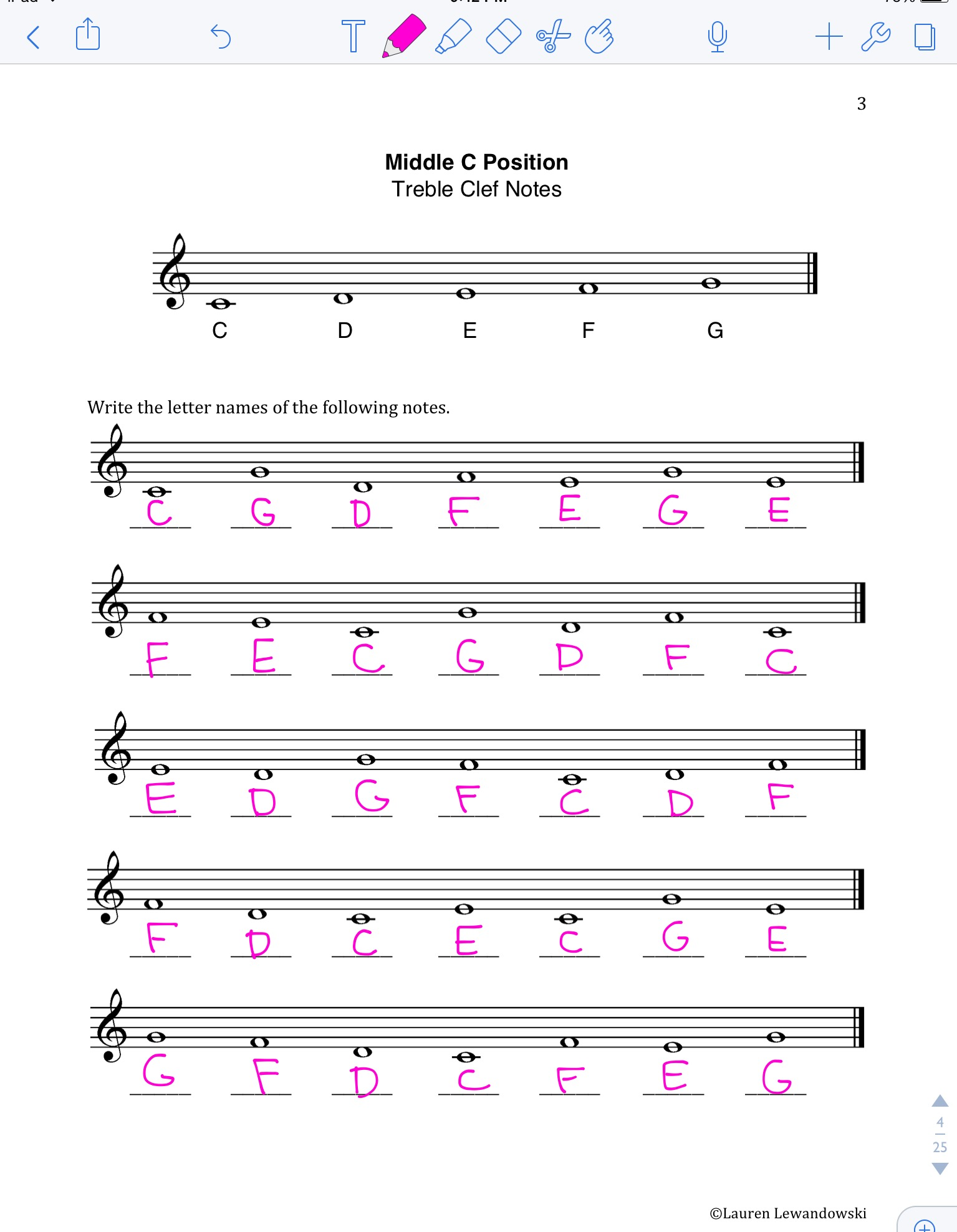 Treble Clef Space Notes Worksheet