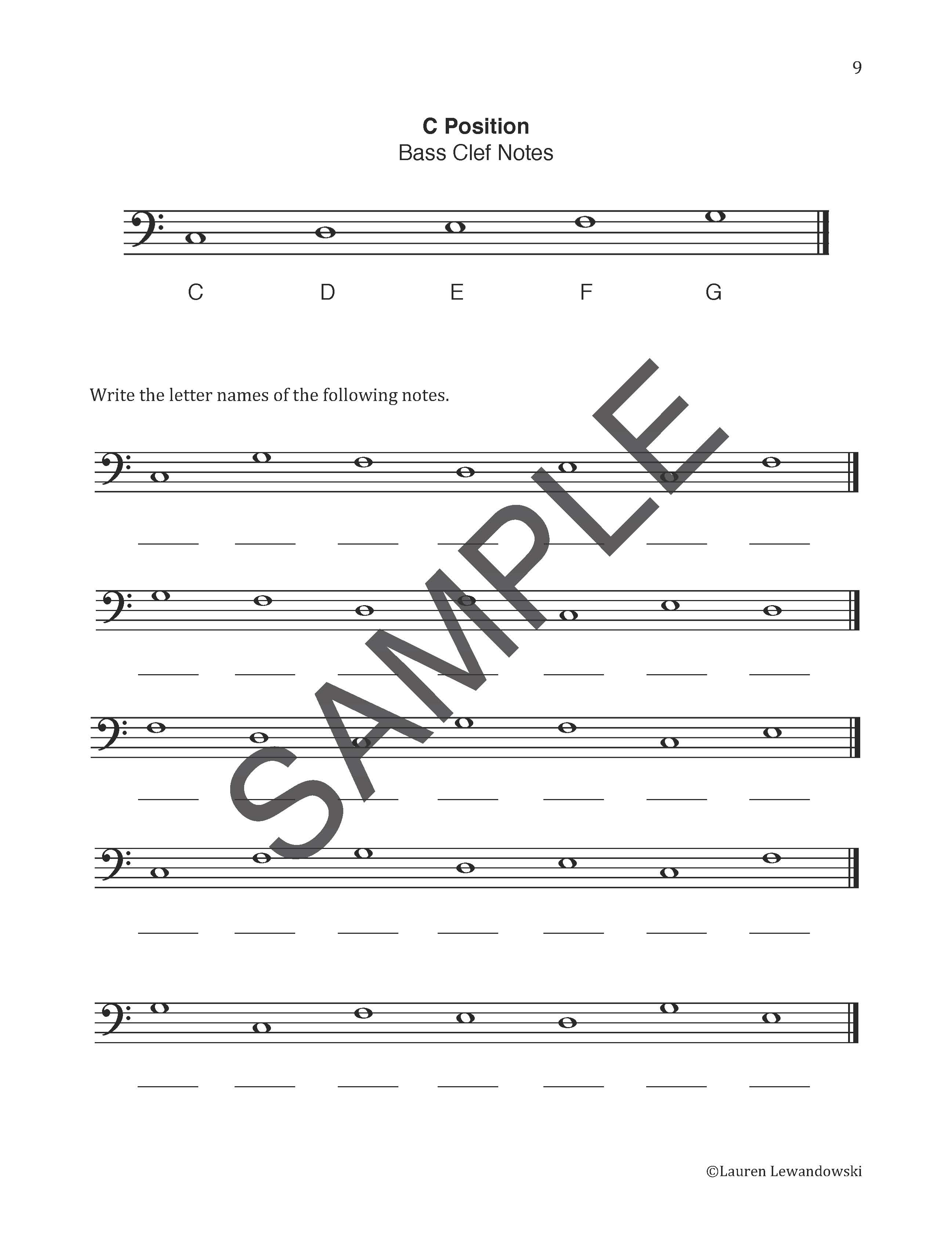Bass Clef C Position Worksheet