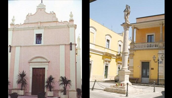 CENTRO STORICO A NUOVO L'obelisco con la colonna di San Giovanni Battista e (a sinistra) la chiesa dell'Annunziata dove si prevede il ripristino del basolato sul sagrato