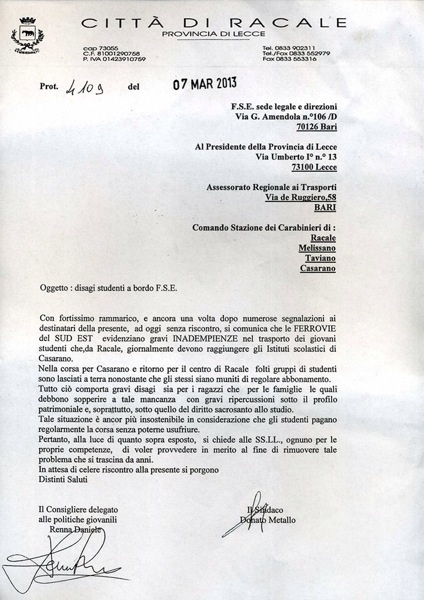 Lettera del sindaco alle Fse